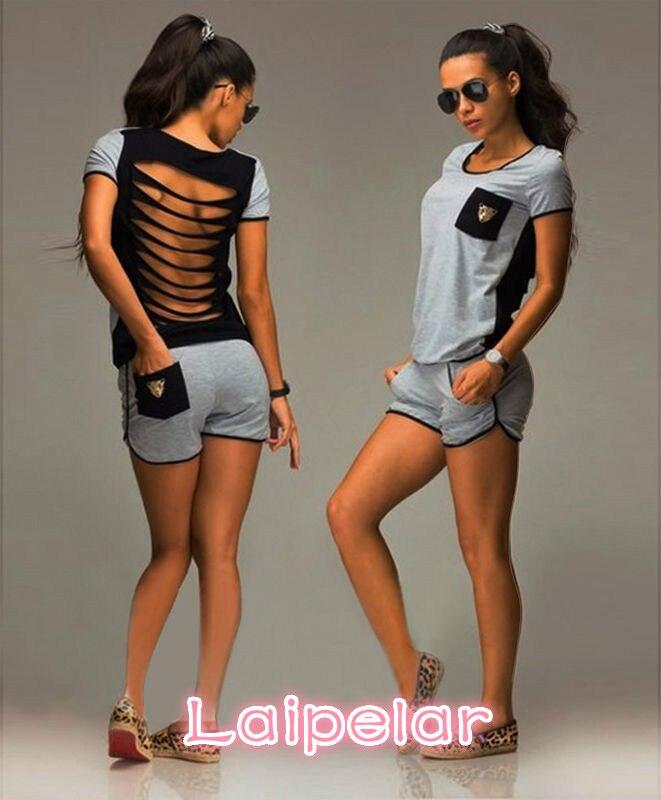 Women 2pcs Suit Back Hollow Out Gray Pocket Short Sleeve Summer Costume Shorts Sleepwear 2PCs Set Laipelar