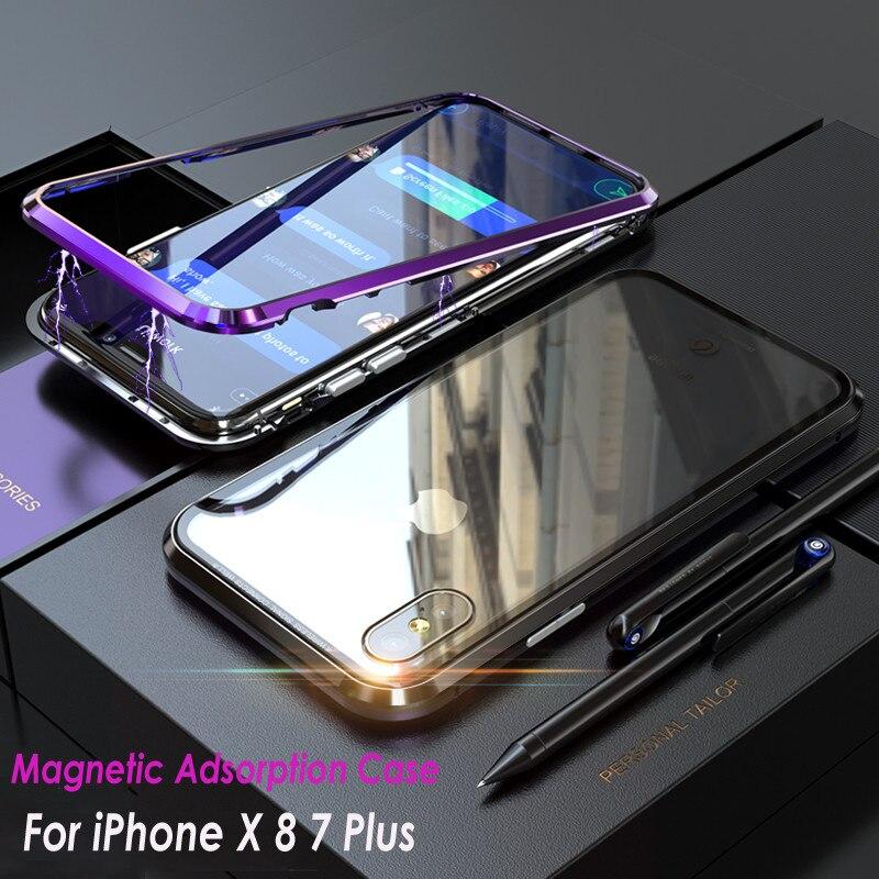 Магнитная адсорбции CNC Алюминий металлический бампер Гибридный прозрачный закаленное Стекло случае Mashup чехол для Apple <font><b>iPhone</b></font> X 8 7 Plus