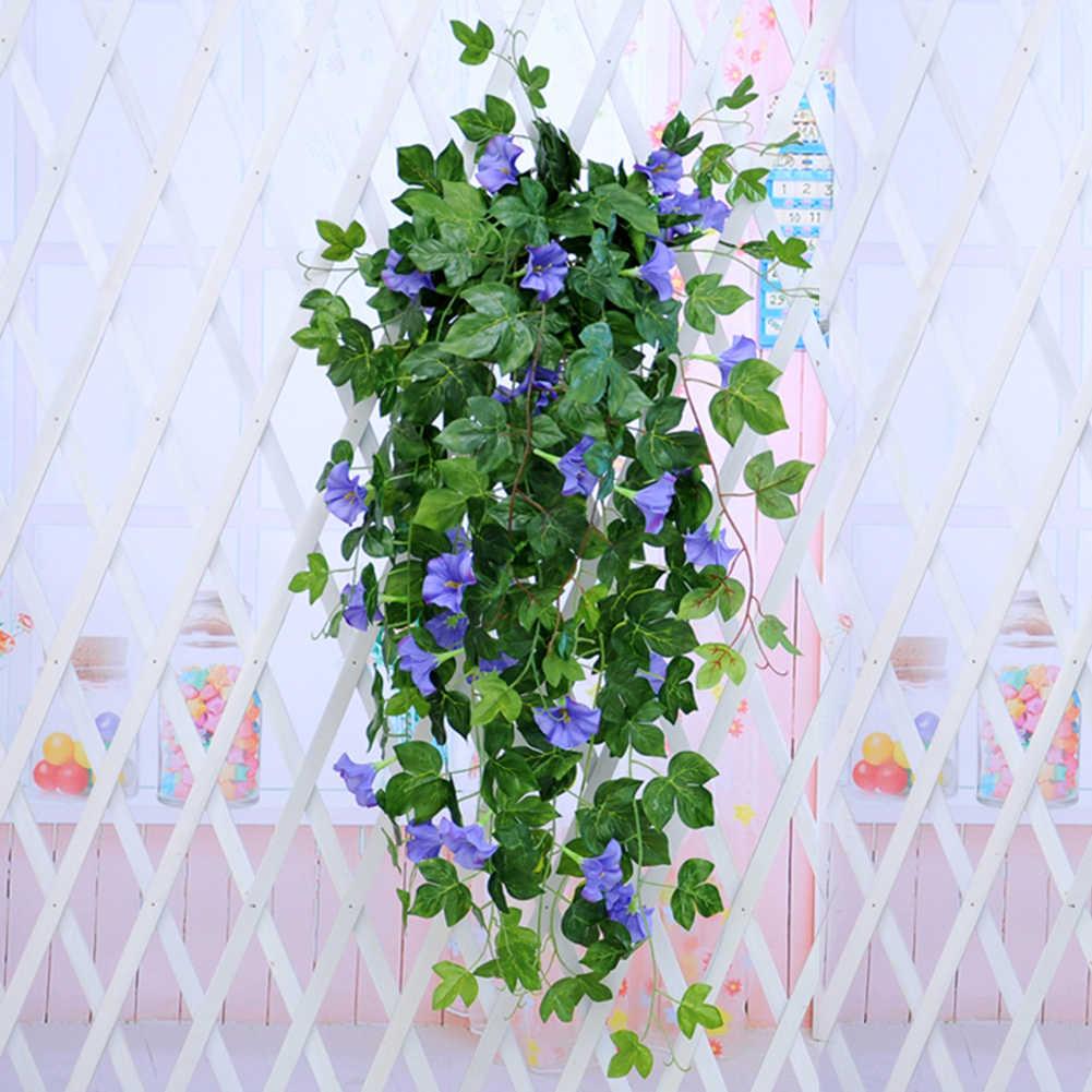 1pc artificiel matin gloire vigne suspendus mur plante guirlande faux jardin mur clôture fenêtre verdure feuille plantes artificielles décor