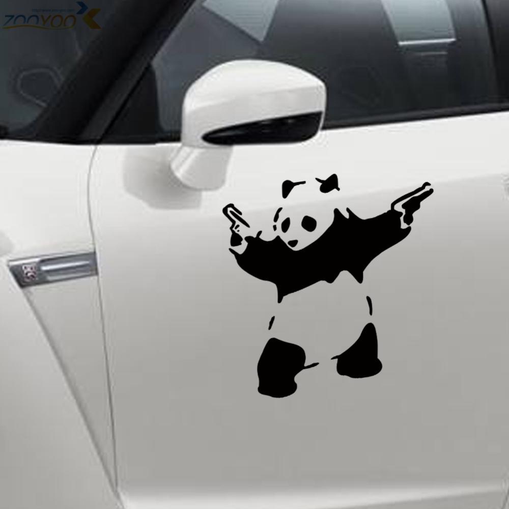 Car decal designer online - Cartoon Panda Gun Car Sticker Wall Stickers Kids Room Living Room Bedroom Home Decor 3d