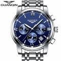 De aço de prata dos homens de negócios de luxo marca de topo guanqin relógio de quartzo-relógio cronógrafo data luminosa dos homens moda casual relógio de pulso