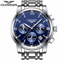 GUANQIN LUXURY Men Business Top Brand Silver Steel Quartz-Watch Chronograph Luminous Date Clock Men's Fashion Casual Wristwatch