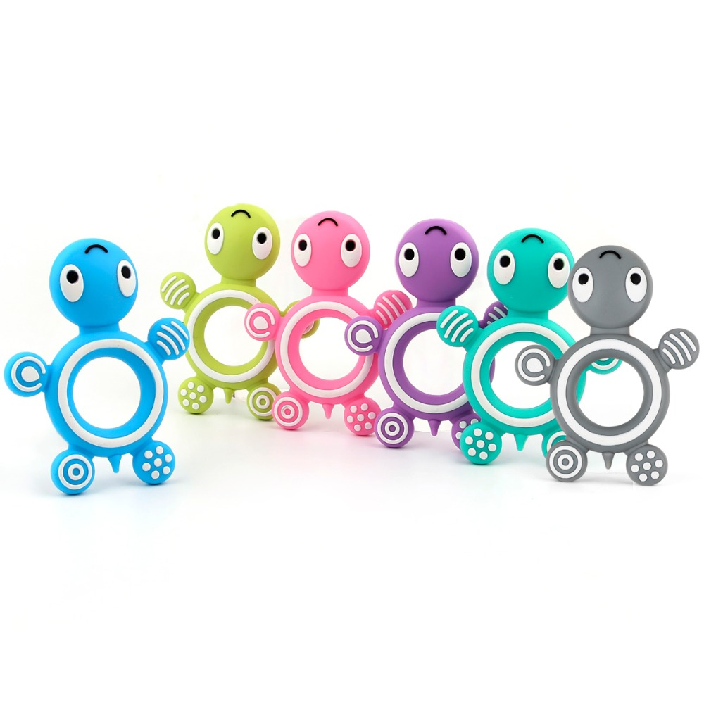 1Pc Lovely Tortoise Silicone Teether BPA Free Material For DIY Baby Pacifier Chain Food Grade Silicone Beads