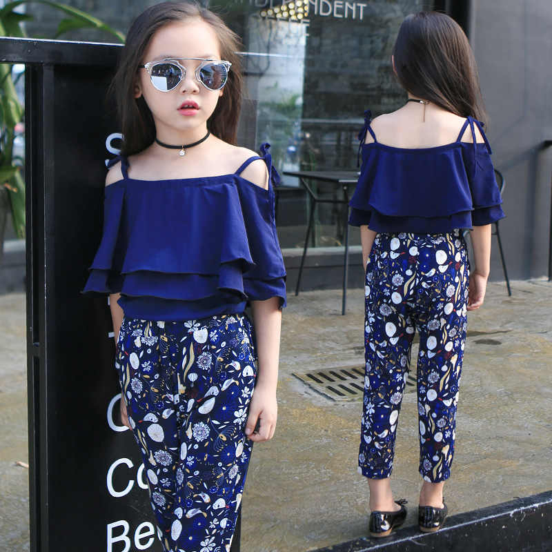 49c81885e8fe9 Girls Sets Clothes Kids Fashion Tops Floral Pants Two Piece Set Children  Summer Suit Girls Outfits 7 8 9 10 11 12 13 14 Years