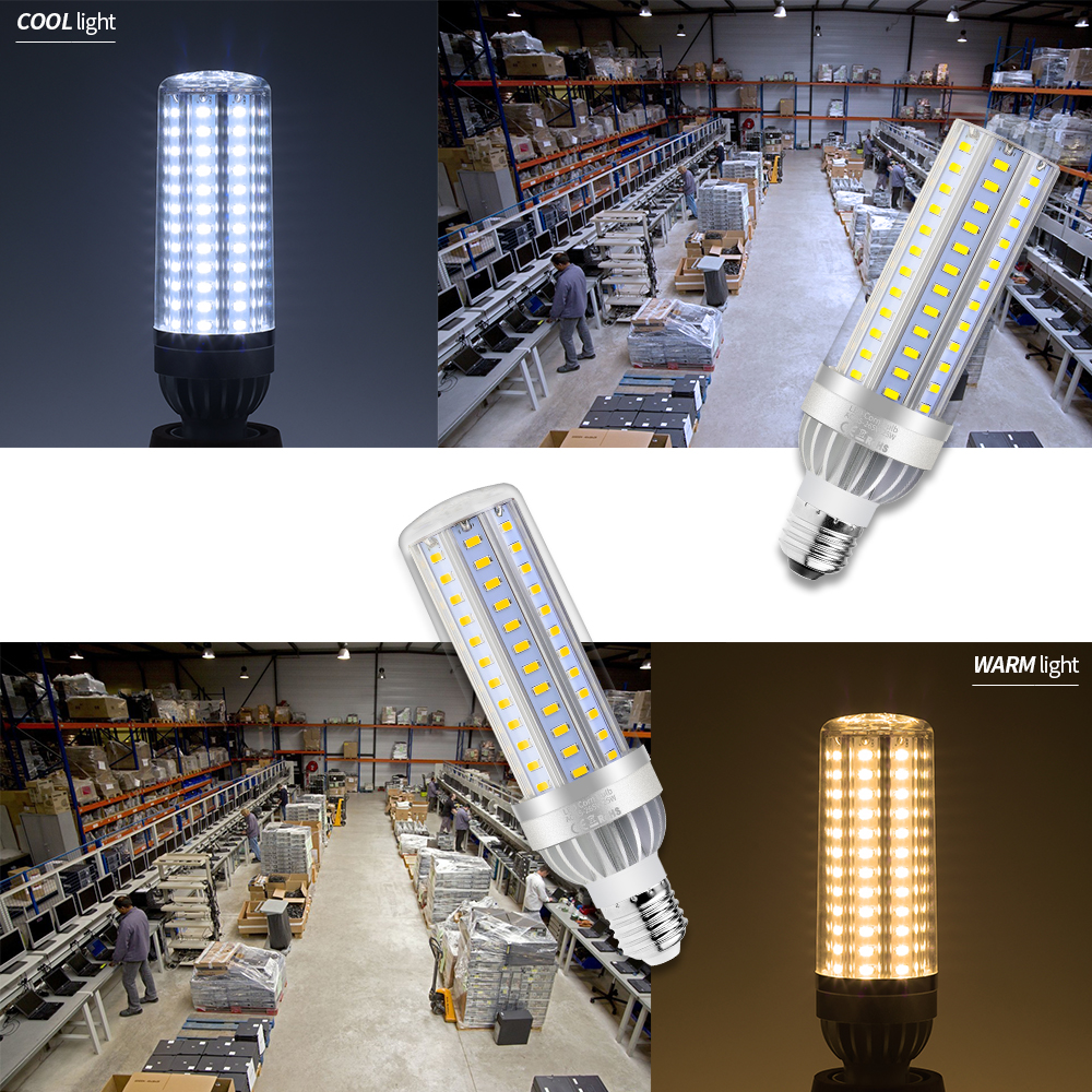 E27 Led Corn Bulb E14 Led Lamp 85 265V Bombillas Led Candle Light 25W 35W 50W High Power Aluminum Led Bulbs Fan Cooling SMD5730 in LED Bulbs Tubes from Lights Lighting