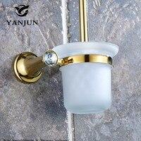 YANJUN Wc Portaescobillas Accesorios de Baño WC Cepillo Con Un Mango Largo Para El Inodoro de Oro de Aleación de Zinc YJ-8062