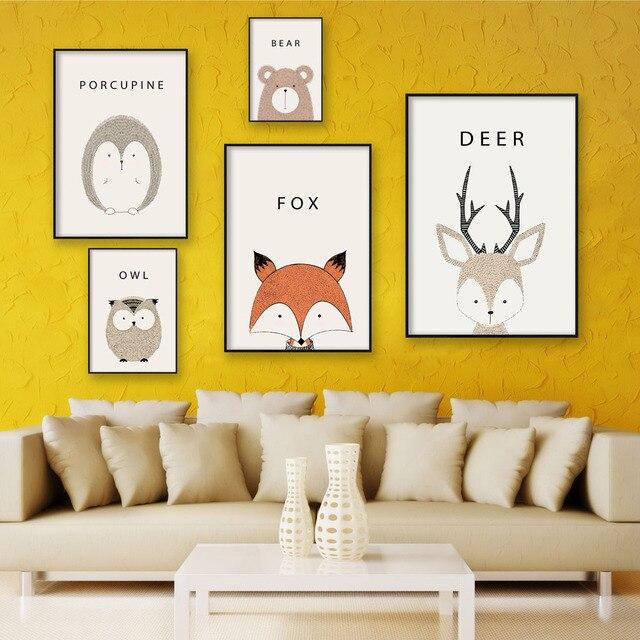 Simple Cute Cartoon Animal A4 Canvas Painting Art Print Poster ...