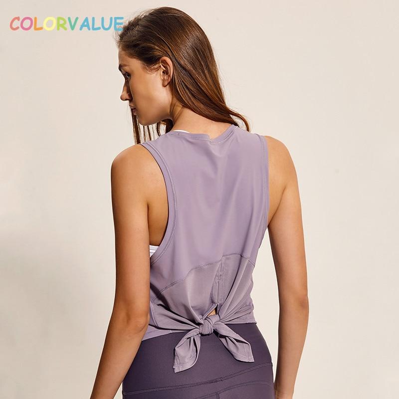 Colorvalue Back Mesh Patchwork Sport Vest Women Loose Fit ...