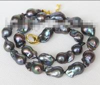 Beautiful luster 18 17mm Baroque black Reborn keshi pearls necklace 36