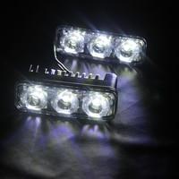 2Pcs Light Source Waterproof 6 LED Bulbs DC 12V Auto Lamp Car DRL Car Styling High