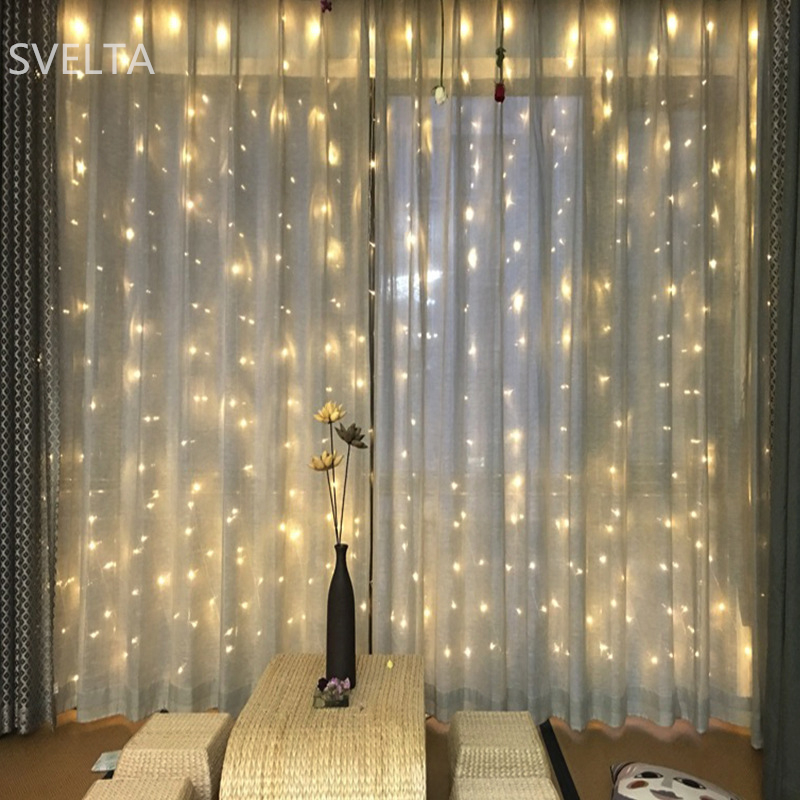 SVELTA 4X4M 512Bulbs LED String Fairy Lights Garland Jul Curtain - Festlig belysning - Foto 1