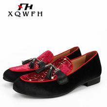 цена XQWFH Black and Red Match Velvet Shoes With Tassel Dress Wedding Party Banquet Men Smoking Slipper Loafers Slip-on Shoes онлайн в 2017 году