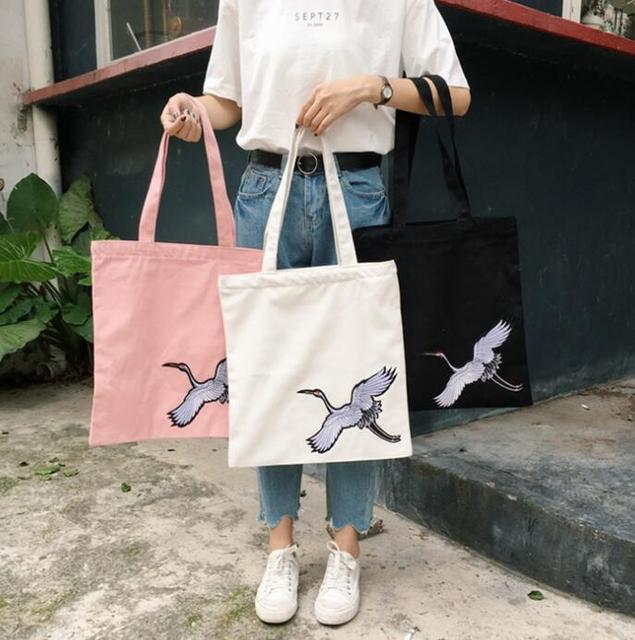 cute big shopping bag foldable reusable tote women s grocery