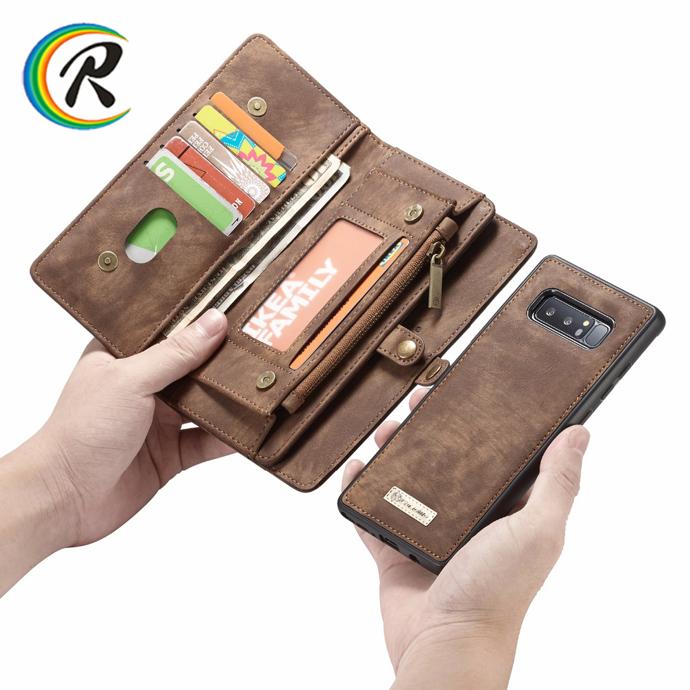 Para Samsung Note 10 Pro Note 9 8 funda billetera magnética para Samsung S7 edge Funda de cuero genuino para Galaxy s9 S8 más S10e Pro