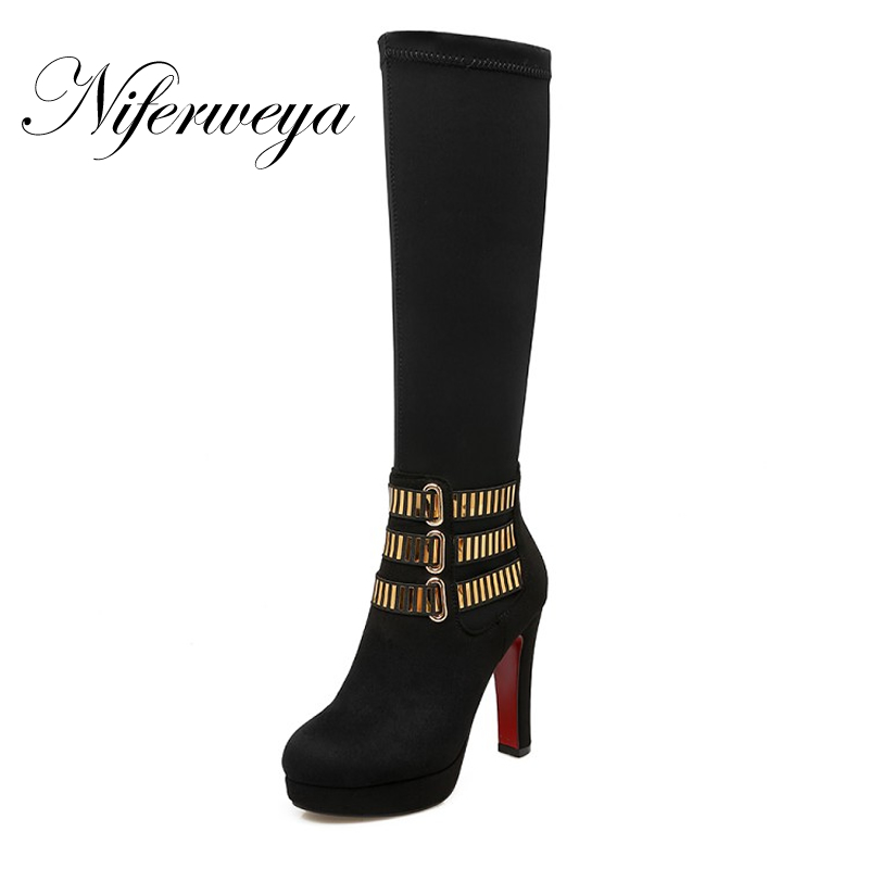 New Winter red women shoes big size 33-43 Round Toe thick heel platform high heels Metal decoration Slip-On Knee-High boots