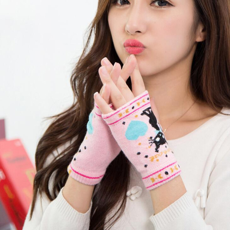 Winter Warm Cute Cartoon Cat Gloves Love Half Finger Touch Screen Outdoor Driving Knit Gloves G92
