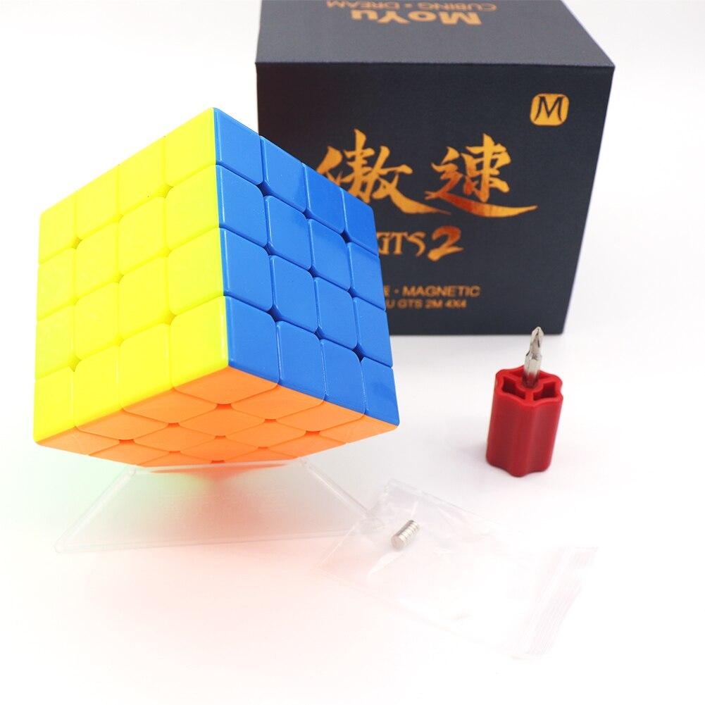Moyu Aosu GTS V2 M Cube de vitesse magnétique GTS2M 4x4x4 sans autocollant GTS2 M Cube magique Puzzle demi-lumineux Version noire