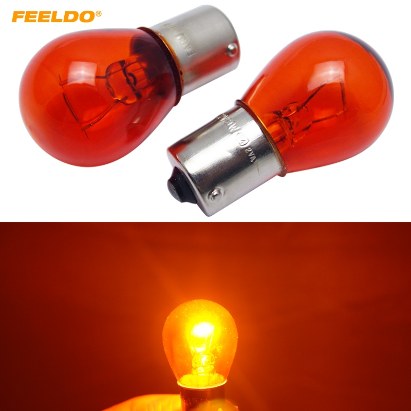 FEELDO 50pcs 1156 S25 12V21W BAU15S Car Clear Glass Lamp Turn Tail Bulb Auto Indicator Halogen Lamp #HQ4297