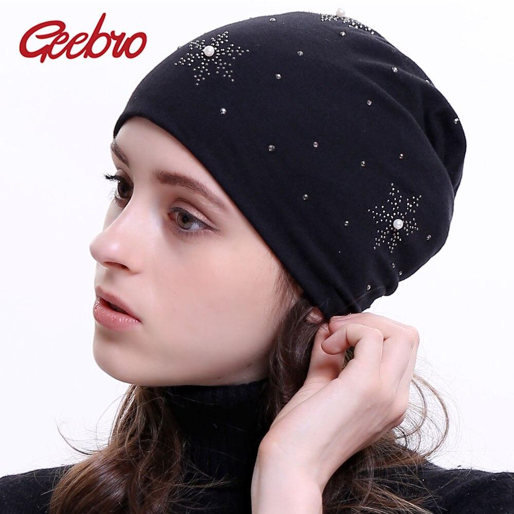 Geebro Women's   Beanie   Hat 2018 New Autumn Pearl Slouchy   Beanie   for Women Female Snowflake Rhinestone   Skullies     Beanies   Bonnet