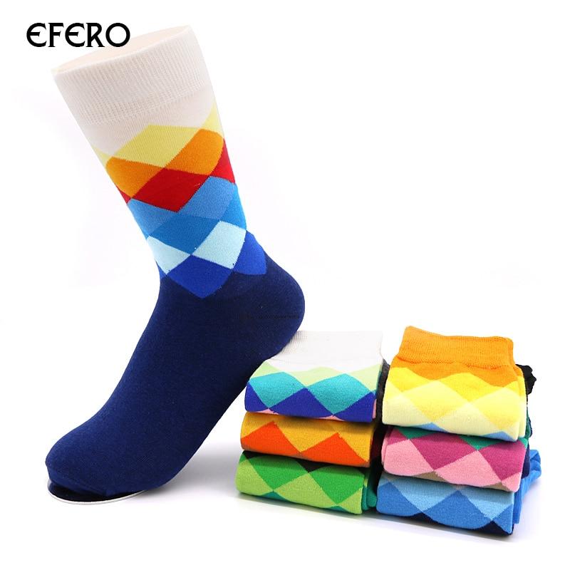 efero Mens Socks Casual Men Long Socks Gradient Color for Man Male Geometry Business Dress Socks Meais Calcetine Hombre 2pairs