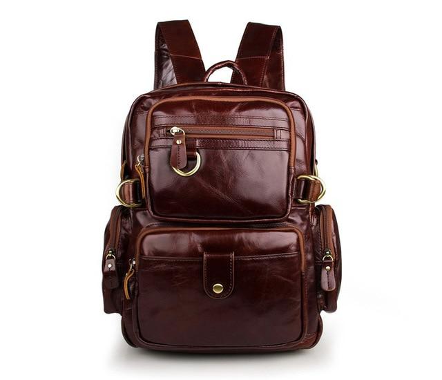Fashion Genuine Leather Women Men Casual Vintage Backpacks Day Pack Travel School Backpack Men's Travel Bags #VP-J7042