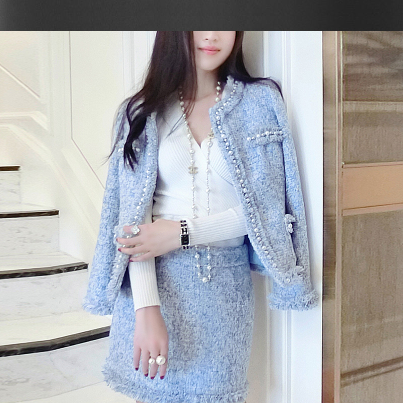 Image result for light blue chanel jacket