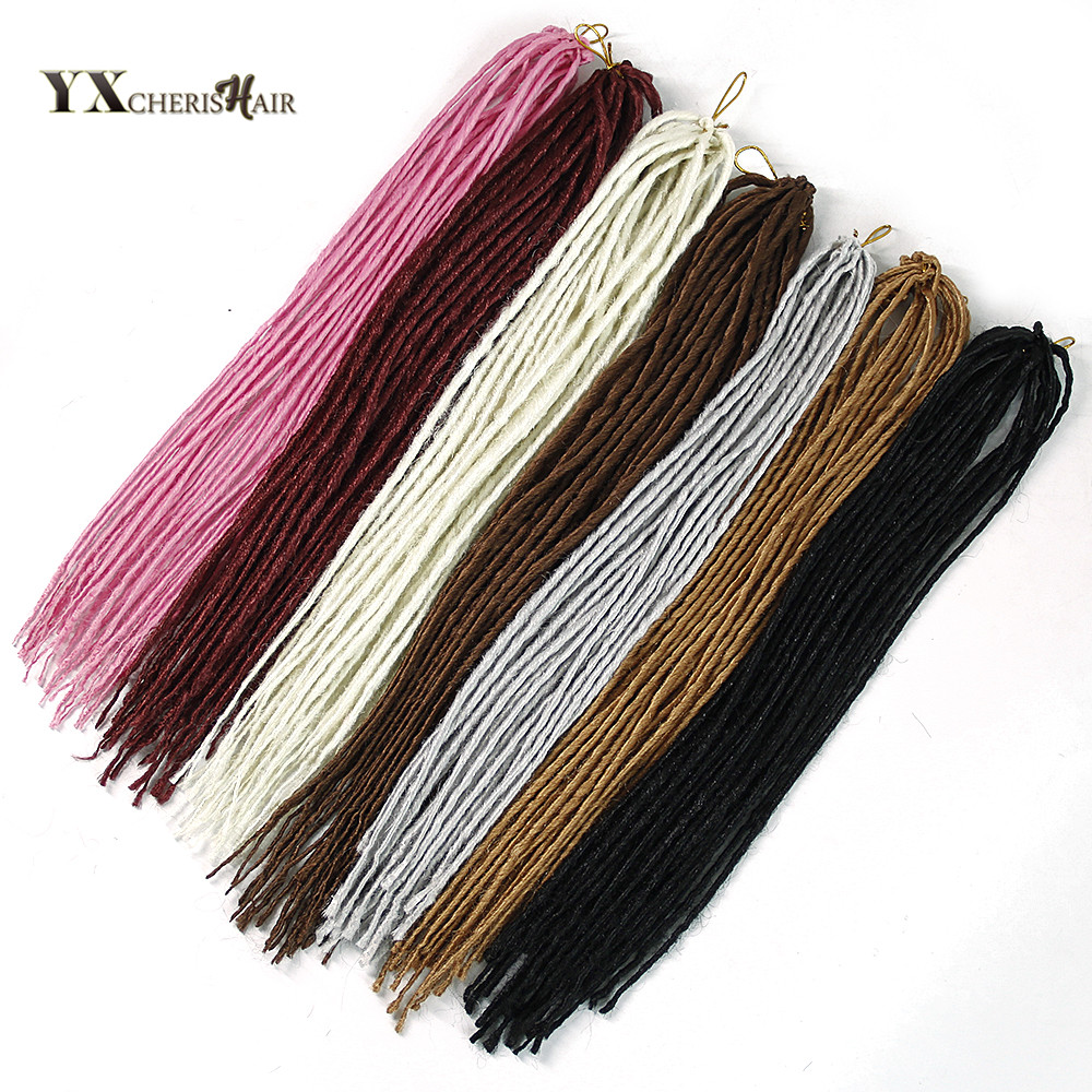 22 inch Dreadlocks Hair Extensions grey and black Crochet Hair Synthetic Crochet Braids Hair