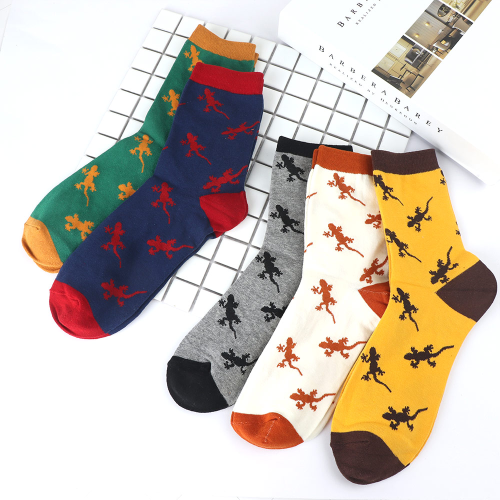Cotton Cartoon Animal Novelty Men Socks Lizard Gecko Pattern Comfortable Socks Embroidery Medium Tube Socks