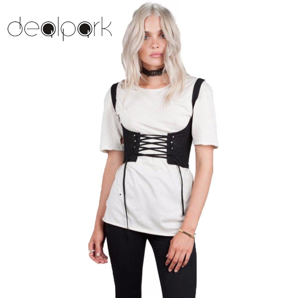 Fashion Sexy Women Lace Up Waistband Corset Belt Tank Shoulder Tie Up Eyelet Front Back Zipper High Waist Belt