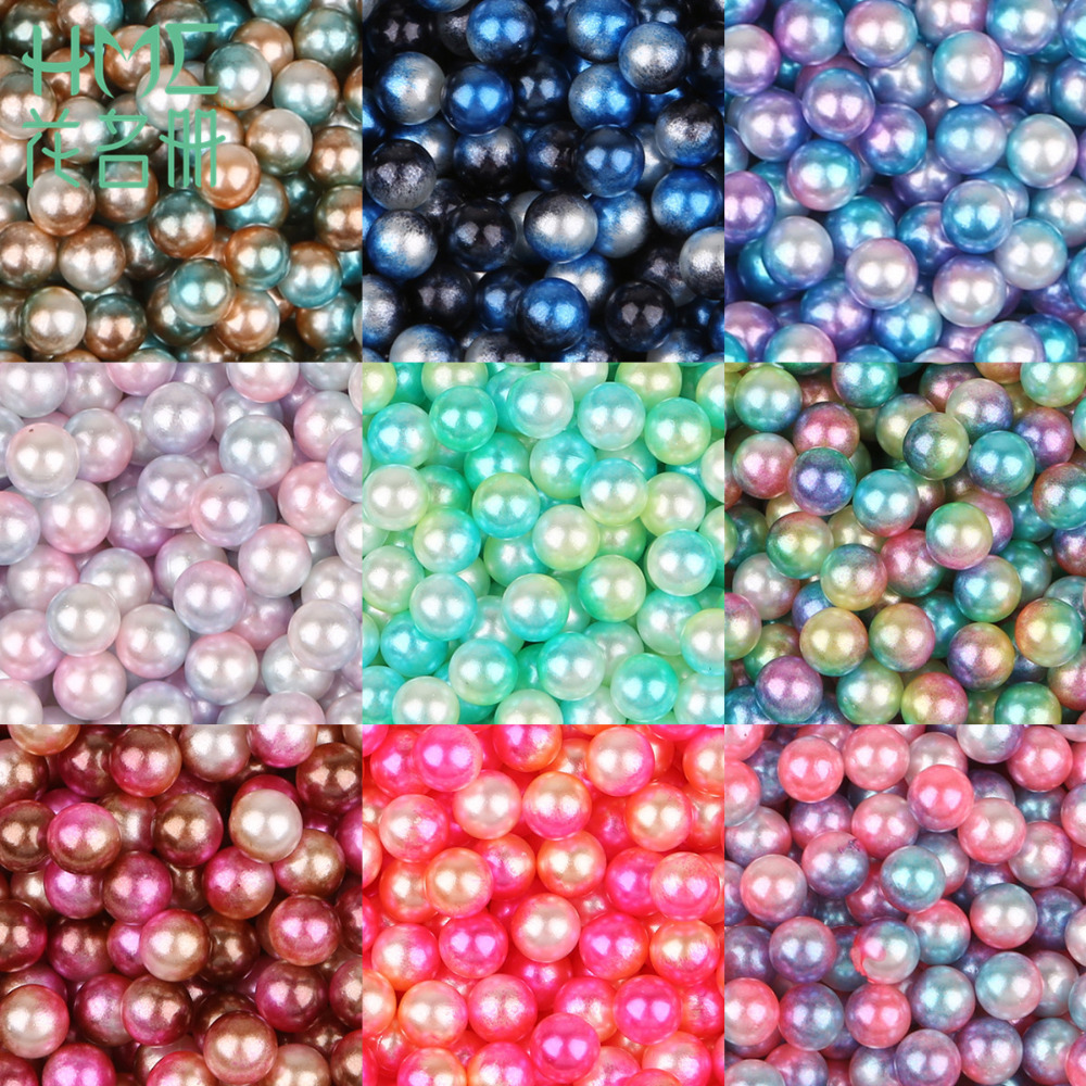 4/6/8/10mm 500pcs/bag Shell Mixed Color Ball Round Wholesale European Nonporous Beads DIY Jewelry Production Wedding Decorations