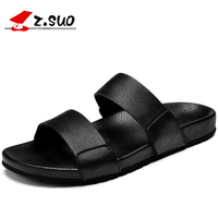 Z.suo Genuine Leather Black Men Slippers Sandals Summer Rubber Beach Shoes Flats Slides Flip Flops Fashion Male Slippers ZS16518
