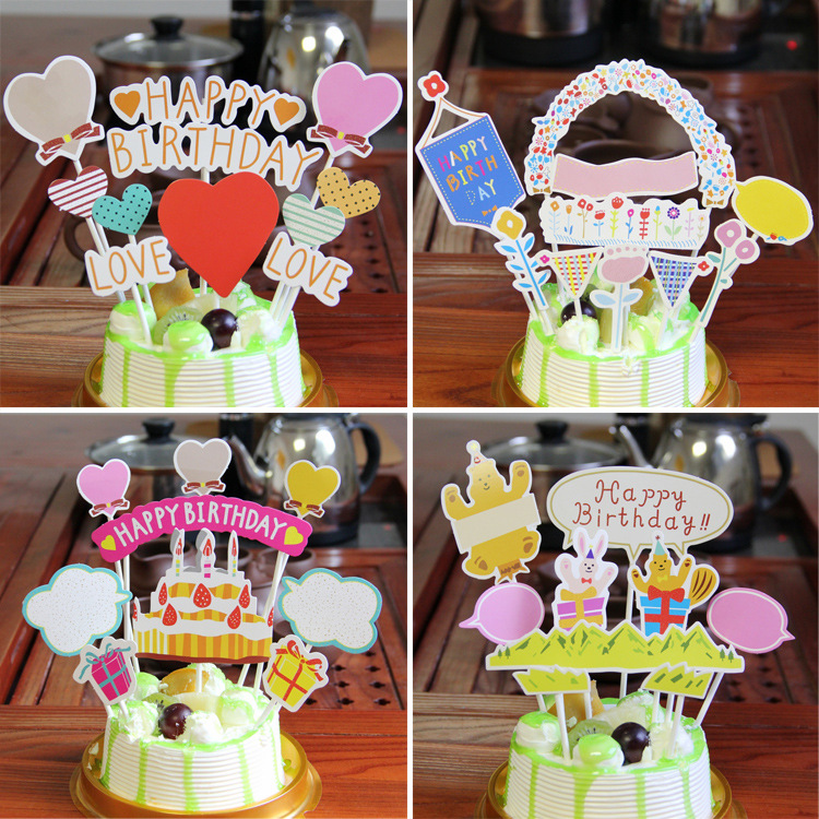 DIY Cute Happy Birthday Cake Topper Cartoon Animals Cupcake Flags Birthday Party Cake Baking Decor Baby shower Cake Flags