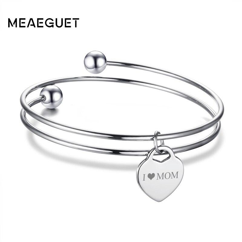 Meaeguet Free Engraving Heart ID Bracelet & Bangle For Women Silver Color Stainless Steel Personalized Layered Love Bracelet personalized heart shaped bracelet