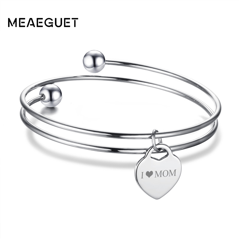 Meaeguet Free Engraving Heart ID Bracelet & Bangle For Women Silver Color Stainless Steel Personalized Layered Love Bracelet
