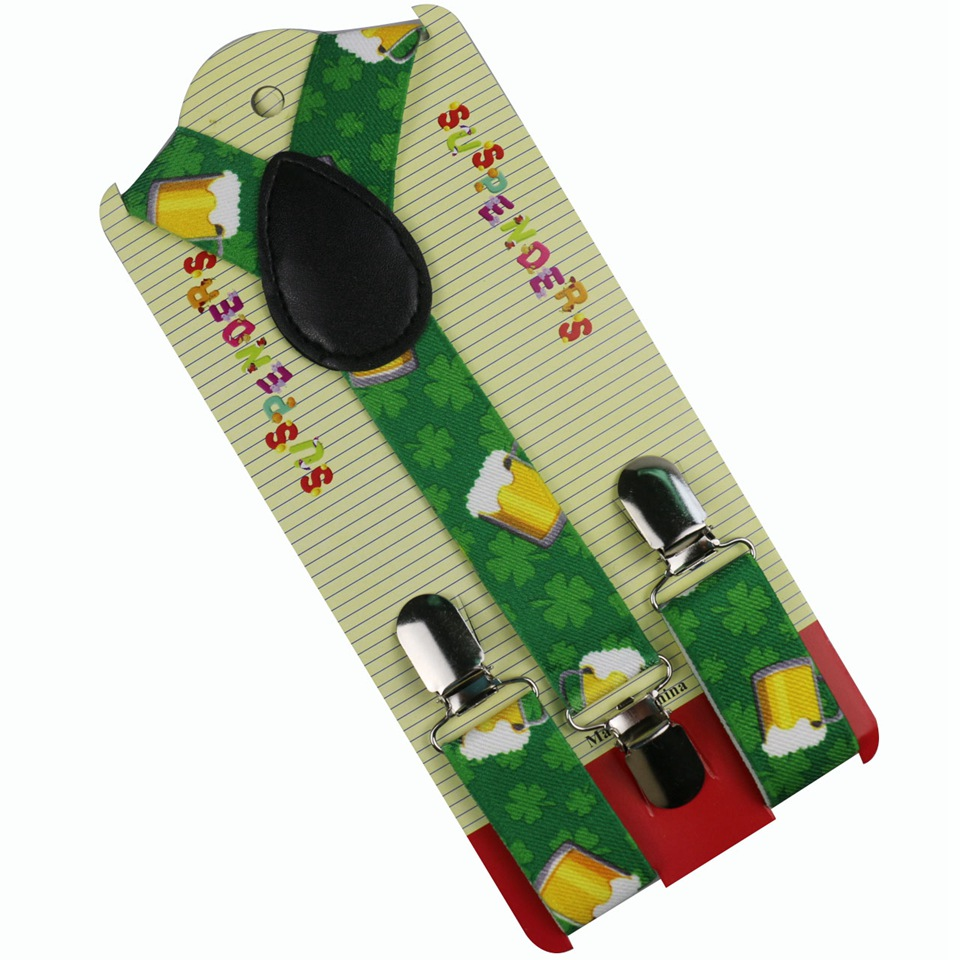 Winfox New Fashion Clip On Y Back Children Green Leaf And Cup Print Suspender For Boys
