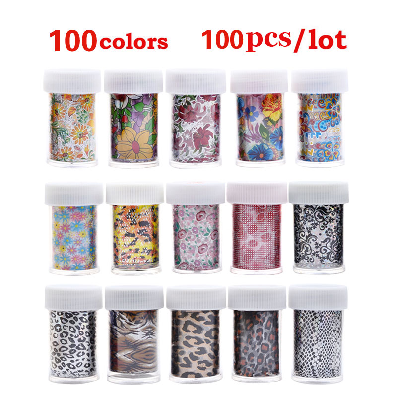 цена New 100pcs Nail Art Transfer Foil Sticker Paper 100Designs Flowers Lace Leopard Stylish DIY Nail Craft Decorations онлайн в 2017 году