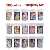 New 100pcs Nail Art Transfer Foil Sticker Paper 100Designs Flowers Lace Leopard Stylish DIY Nail Craft Decorations