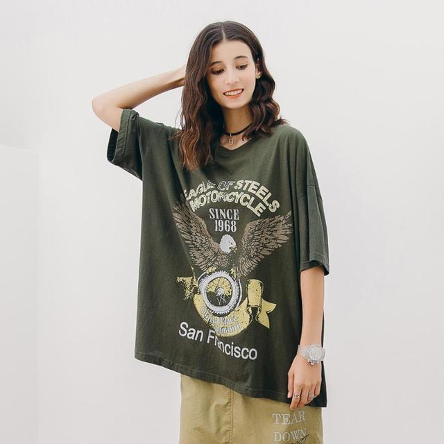 YZ Large Size Women's T-shirt 2019summer Cotton New Female T-shirt Printed Loose Feminino Top