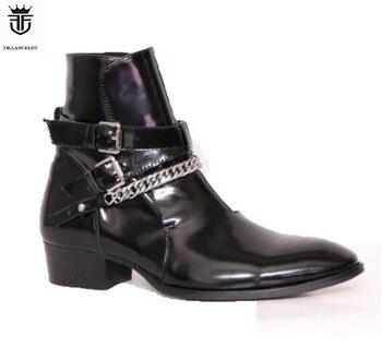 2019 FR.LANCELOT Genuine Leather Chelsea Boots Black Cross Buckle Side Zipper Men Boots 30mm Heel Wedding zapatos de mujer Shoes