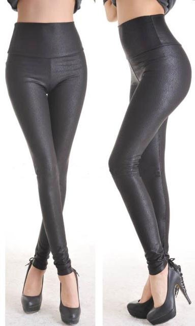 Fashion-Deep-Black-Faux-Leather-Leggings-LC7748-4-1