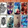 Nova moda flores de torres Eiffel tampa padrão pintura caso para Nokia Asha 302 tampa do telefone para Nokia Asha 302