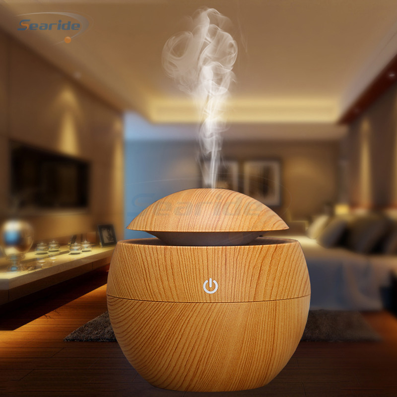 Mini Ultrasonic Air Humidifier USB Aroma Diffuser Wood Grain LED Night Light Electric Essential Oil Diffuser