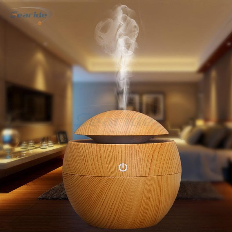 Mini aire ultrasonido Aroma humidificador USB aromaterapia difusor de aceite esencial grano de madera LED noche luz Cool Mist Maker para el hogar