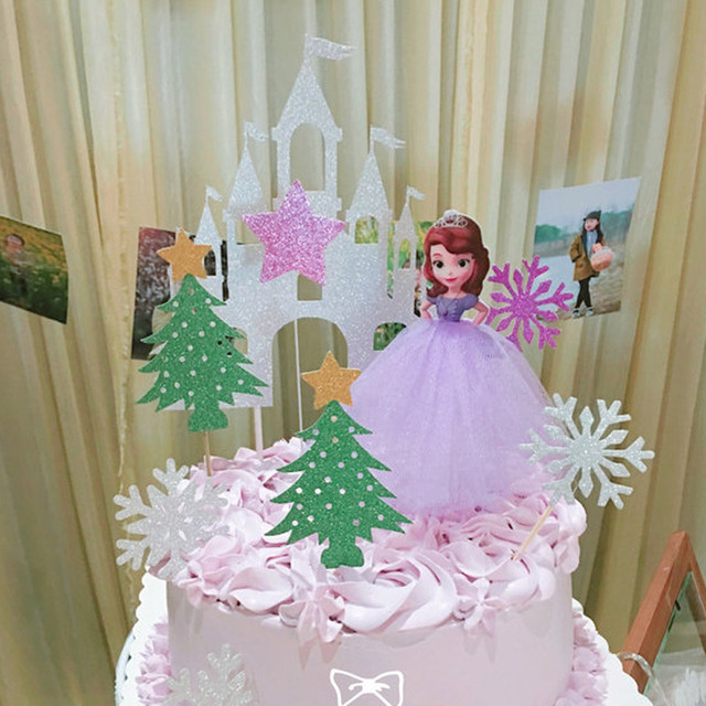 Handmade Tulle Princess Cupcake Cake Toppers Girls Birthday Party Decoration Supplies Mermaid Cinderella Decorating Tools