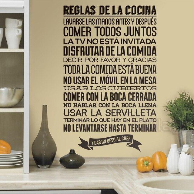 Aufkleber Spanisch Küche Reglas de la Cocina Vinyl Wandtattoos ...