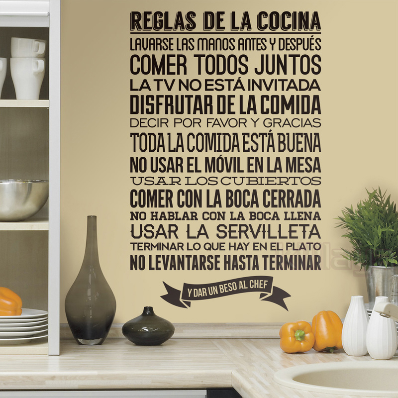 Stickers Spanish Cuisine Reglas de la Cocina Vinyl Wall Decals Sticker Mural Wall Art Kitchen Rules Tile Home Decor Decoration