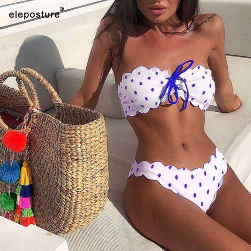 Пикантные бикини в горошек для женщин 2019 из двух частей купальник Push Up Купальники для малышек цветочный сбоку ванный комплект бразильский пляжная ОД