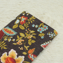 Floral Printed Cotton Plain Fabric Brown 100% Breathable Pure Sewing Material DIY Patchwork Cloth For Dress