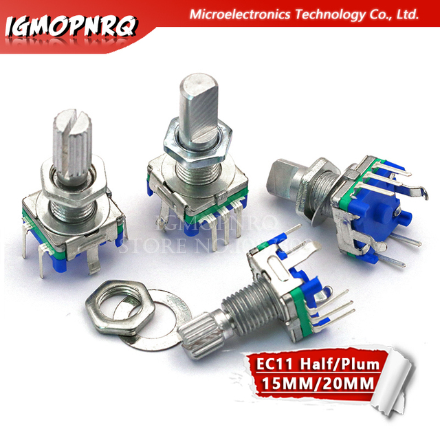 5PCS Half / Plum axis rotary encoder, handle length 15mm / 20mm code switch / EC11 / digital potentiometer with switch 5Pin 3Pin