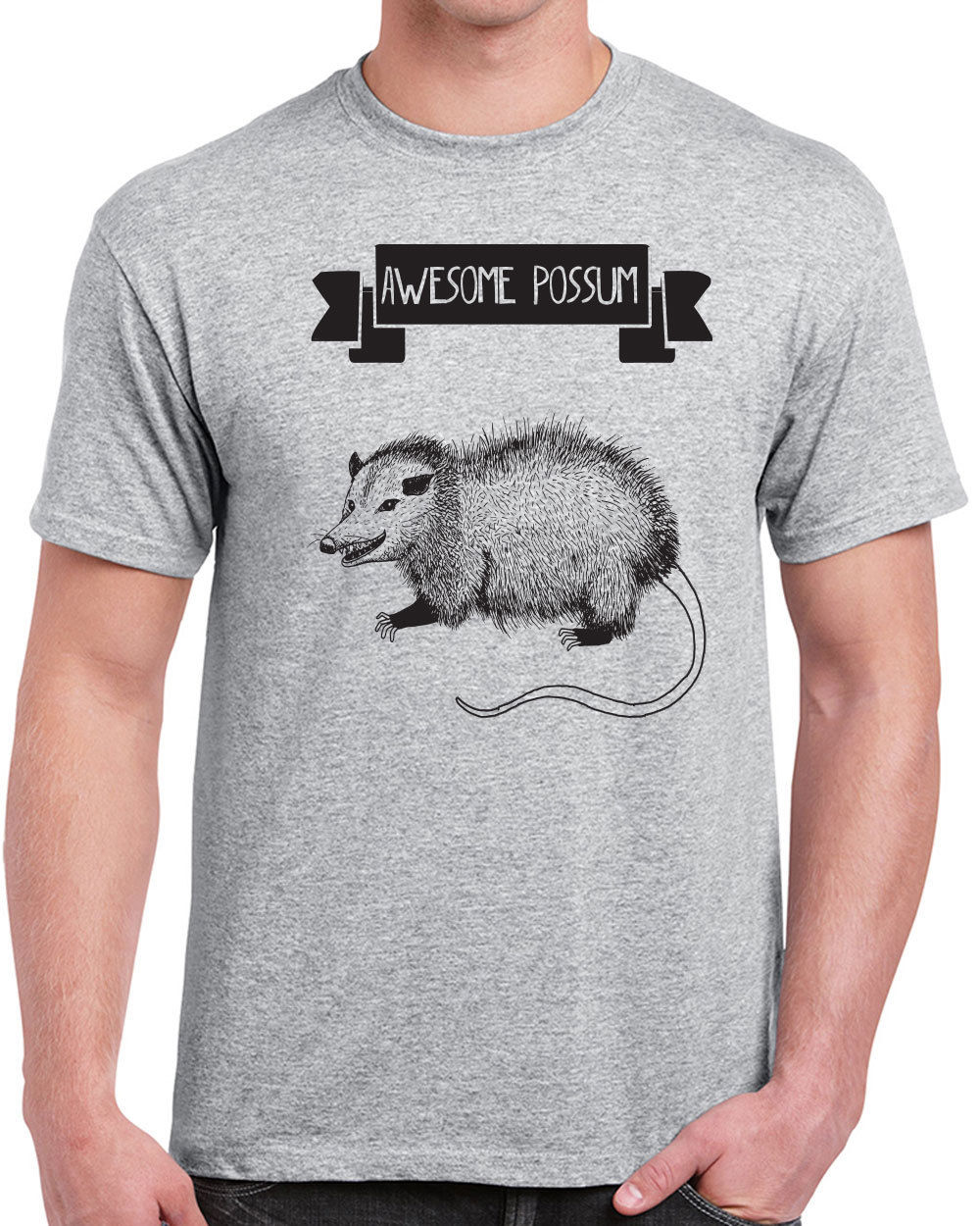 378 Awesome Possum mens T-shirt funny t-shirt mammal animal lover vegan shirt Simple Sty ...